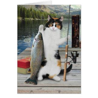 Carte de chat de pêche