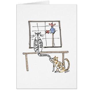Carte de chats d'observation d'oiseau