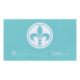 Carte de Chic Fleur De Lis Place, Aqua Carte De Visite Standard
