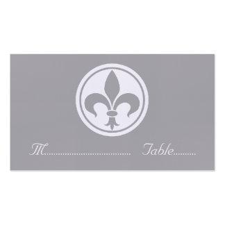 Carte de Chic Fleur De Lis Place, grise Carte De Visite Standard
