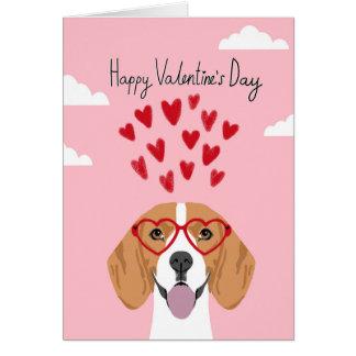 Carte de chien de jour de Valentines de beagle