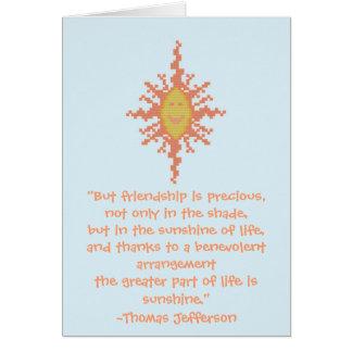 Carte de citation d'amitié de Thomas Jefferson
