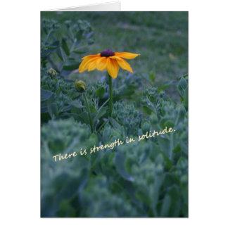 Carte de citation de fleur de jaune de solitude de
