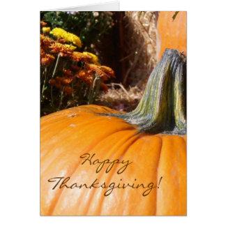 Carte de citrouille de bon thanksgiving avec le