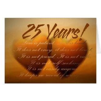 Carte de coeur d'anniversaire de 25 ans