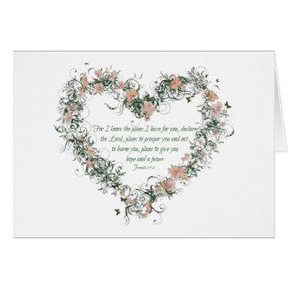 Carte de coeur de fleur de 29:11 de Jérémie