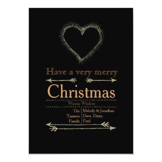 Carte de coeur de Noël très Joyeux Carton D'invitation 12,7 Cm X 17,78 Cm