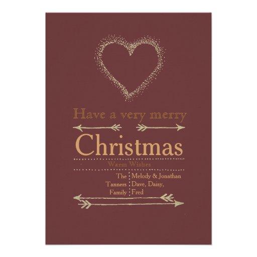 Carte de coeur de Noël très Joyeux Invitation