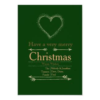 Carte de coeur de Noël très Joyeux Invitations