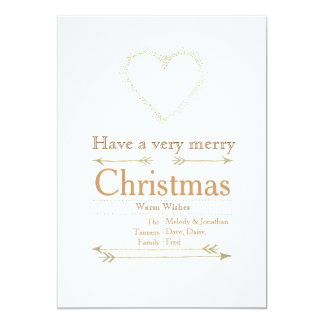 Carte de coeur de Noël très Joyeux Carton D'invitation