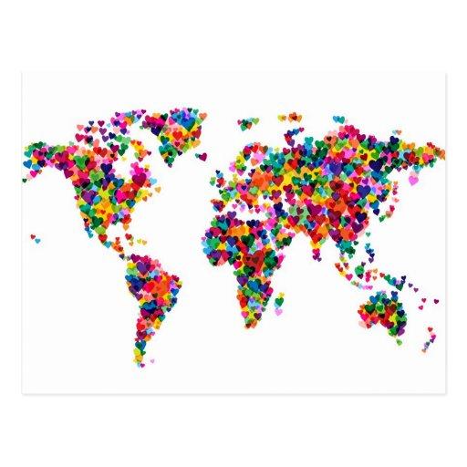 Carte de coeurs d'amour de la carte du monde carte postale