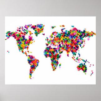 Carte de coeurs d'amour de la carte du monde posters