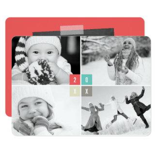 Carte de collage de photo de nouvelle année de cartons d'invitation