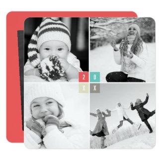 Carte de collage de photo de nouvelle année de faire-part personnalisé