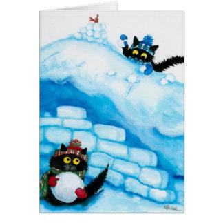 Carte de combat de boule de neige de chats de Noël
