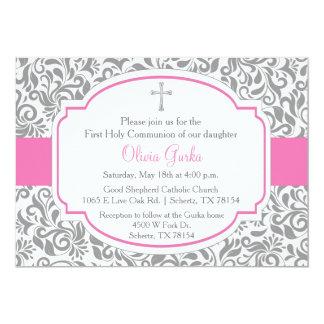 Carte de communion de filles roses de damassé carton d'invitation  12,7 cm x 17,78 cm