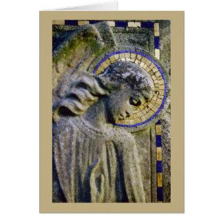 Carte de condoléance avec la sculpture en ange