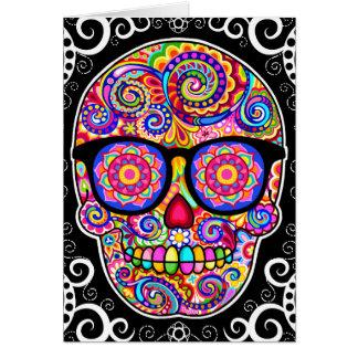 Carte de crâne de sucre de hippie - jour de l'art