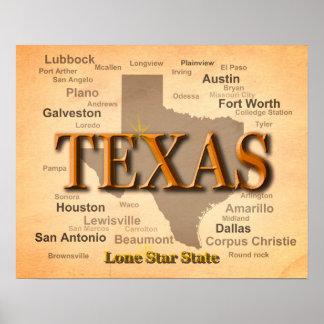 Carte de cru du Texas Poster
