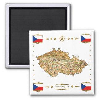 Carte de Czechia + Aimant de drapeaux