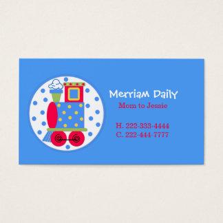 Carte de date bleue de jeu de maman de train