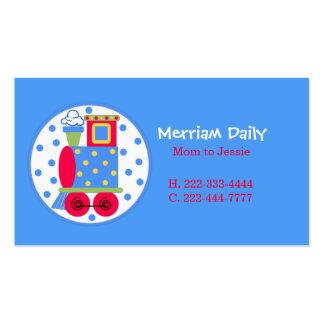 Carte de date bleue de jeu de maman de train modèle de carte de visite