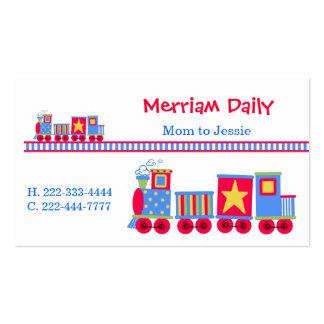 Carte de date de jeu de maman de train modèle de carte de visite