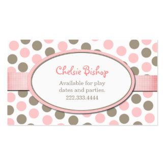 Carte de date de jeu de point de polka de rose et carte de visite standard