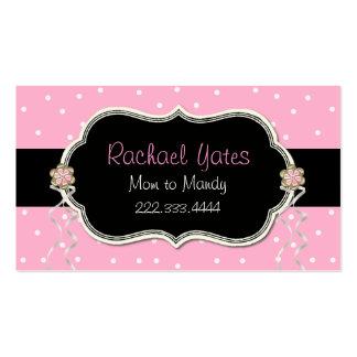 Carte de date rose blanche et noire de jeu de ma cartes de visite personnelles