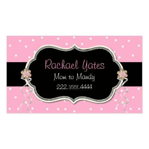Carte de date rose, blanche, et noire de jeu de ma cartes de visite personnelles