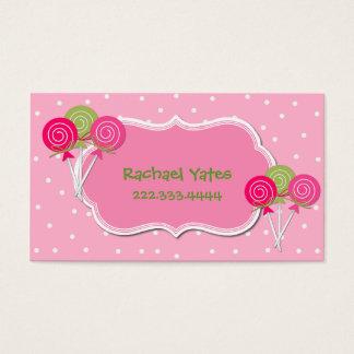 Carte de date rose et verte de jeu de Lollypops