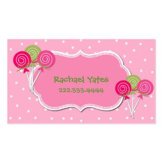 Carte de date rose et verte de jeu de Lollypops Carte De Visite