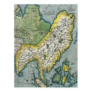 Carte de début du 16ème siècle de l'Asie Carte Postale