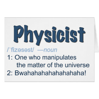carte de définition de physicien - bleu et blanc