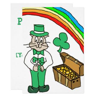 Carte de dessin de chat de jour de la St Patrick Carton D'invitation 12,7 Cm X 17,78 Cm