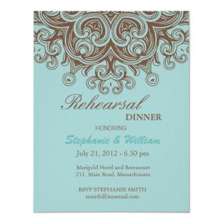 Carte de dîner de répétition d'Aqua et de Brown Invitations Personnalisées