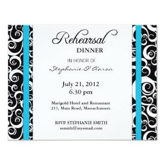 Carte de dîner de répétition de remous de damassé carton d'invitation 10,79 cm x 13,97 cm