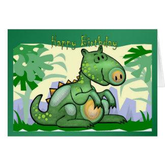 Carte de dinosaure de joyeux anniversaire
