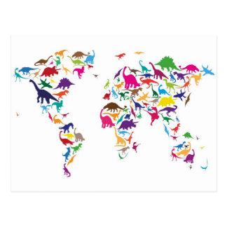 Carte de dinosaure de la carte du monde
