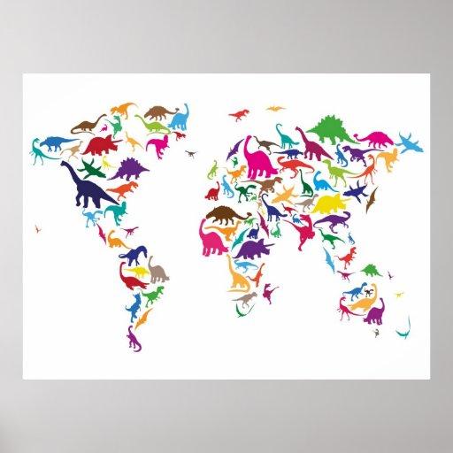 Carte de dinosaure de la carte du monde poster zazzle - Poster carte du monde ikea ...