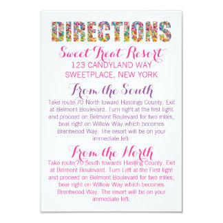 Carte de DIRECTIONS de thème de sucrerie
