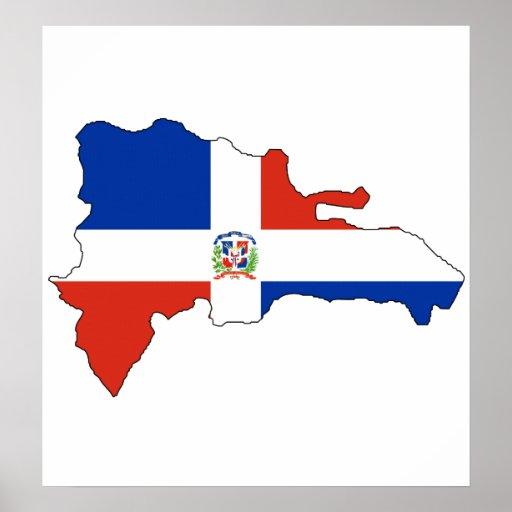 Carte de drapeau de la République Dominicaine norm Affiches