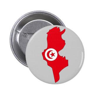 Carte de drapeau de la Tunisie Badge Rond 5 Cm