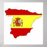 Carte de drapeau de l'Espagne normale Poster