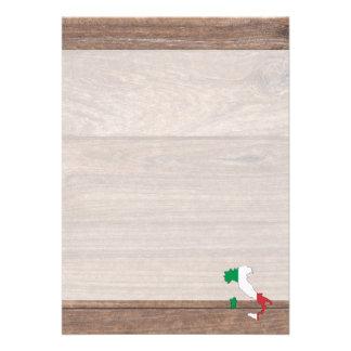 Carte de drapeau de l'Italie d'équipe sur le bois Carton D'invitation 12,7 Cm X 17,78 Cm