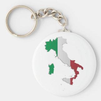 Carte de drapeau de l'Italie Porte-clé Rond