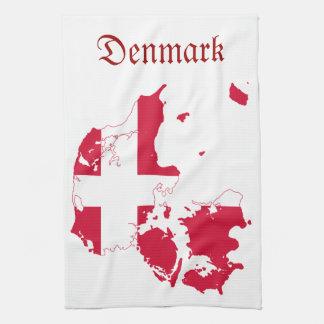 Carte de drapeau du Danemark Linge De Cuisine