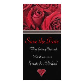 Carte de faire-part de mariage de rose rouge carte avec photo