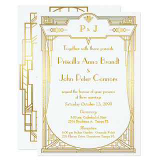 Carte de faire-part de mariage, grand Gatsby, or
