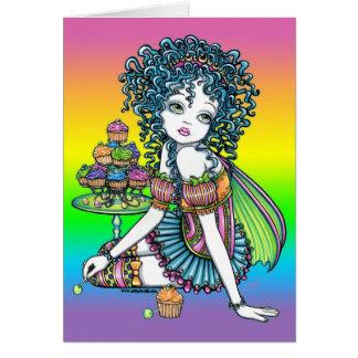 Carte de fée d'arc-en-ciel de couture de gâteau de